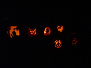 A 2004-ish rendition of carved pumpkins from our annual chili supper which is no longer really annual.