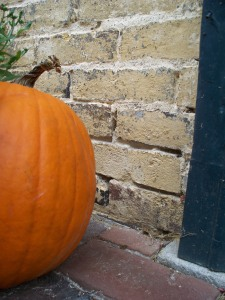 A lonely uncarved pumpkin outside the cottage at Henry Clay's home.